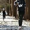 The first woman to finish the Winterfest Snowshoe race at the Saratoga Springs State Park was Carissa Stepien of Syracuse, NY. She finished with a time of 26:14. This was Stepien's first race in several years. Photo Eric Jenks 2/7/10