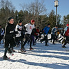 Snowshoers take off Sunday Morning in the 11th annual Saratoga Winterfest Snowshoe race put on by the Saratoga Striders Club.  Entrants in the race have the chance to qualify for the Empire State race. Photo Eric Jenks 2/7/10