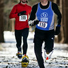 On the final stretch, Tim VanOrden of Bennington, VT narrowly closes out Jeremy Drowne of Saratoga during the 11th annual Winterfest Snowshoe race. Their times were 19:51 and 19:52 respectively. Photo Eric Jenks 2/7/10