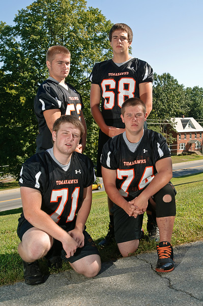 Corinth Football Lineman - Standing Chris Clotheir, James Gallup. Kneeling - Bobby Millis, Joe Wickham. Photo By Eric Jenks