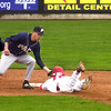 (042708)-2008_0427_ULOW-vs-PaceUniversity--Laurence Flammia tags out Lowell Riverhawk, Luke Wallace, during baseball action at LeLacheur Park on Sunday. DIG IM No.0809..SUN/Amanda-Beth Potter