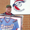 """(042708)-2008_0427_ULOW-BoutinRetired#18--David Boutin stands with his Lowell Chiefs #18 jersey which was reitred by the Riverhawk baseball program at Lelacheur park in Lowell on """"David Boutin Day"""".  DIG IM No.0809..SUN/Amanda-Beth Potter"""