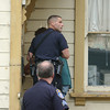 Mark McKenna/The Times-Standard<br /> Eureka Police Officers prepare to enter a house at 112 Del Norte during a search for Jay Xanadu Eddington. He was fleeing officers when he entered the house on across the street from the Senior Center.