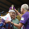 Josh Jackson/The Times-Standard<br /> <br /> The 2007 Relay for Life King and Queen are crowned at College of the Redwoods on Friday. Pat Rassbach and Ernie Bednar received the honors during the opening ceremonies.