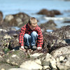 Mark McKenna/The Times-Standard<br /> Kameron Berg looks for sea life in the tide-poole at Trinidad State Beach on Friday. He was on a field trip with all the first grade classes at Ridgewood Elementary School.