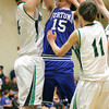 Josh Jackson/The Times-Standard<br /> <br /> Crusaders' Stephen Papstein blocks Huskies' Austin Free during Wednesday's game in Eureka.