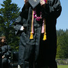 Shaun Walker/The Times-Standard<br /> <br /> Graduating senior Leonara Rivera proudly displays her diploma during Arcata High School's commencement on Thursday afternoon. Over 200 seniors from Arcata High and Pacific Coast High graduated in College of the Redwoods Community Stadium.