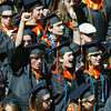 Shaun Walker/The Times-Standard<br /> <br /> Graduating seniors celebrate at the end of Arcata High School's commencement on Thursday afternoon. Over 200 seniors from Arcata High and Pacific Coast High graduated in College of the Redwoods Community Stadium.