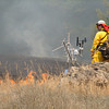 John Driscoll/The Times-Standard<br /> Calfire Battalion Chief Hugh Scanlon walks past weather monitoring equipment during a prescribed burn inside Humboldt Redwoods State Park on Wednesday.