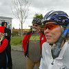 Shaun Walker/The Times-Standard<br /> <br /> Avid cyclist Melanie Williams of Arcata wears a snorkel as she listens to speakers during Future Sea Level Rise Awareness Day on the Arcata Plaza on Saturday. The event, co-sponsored by Green Wheels and the City of Arcata's Energy Committee and Transportation Safety Committee, culminated with a family-friendly bike tour of sections of Arcata expected to be impacted by rising sea level.
