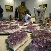 Shaun Walker/The Times-Standard<br /> <br /> Purple amethyst sparkles under the lights at the Lost Coast Jewelry, Gem, Bead, and Mineral Show at Redwood Acres Fairgrounds in Eureka on Friday afternoon. The event, which continues today [SATURDAY] from 10 a.m. to 7 p.m. and Sunday from 10 a.m. to 5 p.m., features 27 vendors and a portion of the entrance fee helps support local 4-H clubs.