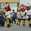 Shaun Walker/The Times-Standard<br /> <br /> A pit crew of very large chickens runs loose before the Arcata start of the kinetic race on Saturday.