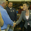 Shaun Walker/The Times-Standard<br /> <br /> Republican U.S. Senatorial candidate Carly Fiorina shakes hands after speaking at O&M Industries, Inc. in Arcata on Friday.