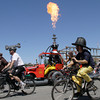 Shaun Walker/The Times-Standard<br /> <br /> The Lost Coast Brewery Fire Department Hookah 'n' Ladder 420 fires it up at the start of the Kinetic Grand Championship in Arcata on Saturday.