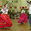 "Shaun Walker/The Times-Standard<br /> <br /> Morgan Walters, 9, left and Tony Basler, 11, dance ""Jarabe Tapatio"" during Cinco de Mayo festivities at Ferndale Elementary on Friday. The event featured many costumed dance performances, live music, and homemade Mexican food. On May 15 is a Cinco de Mayo parade down Main Street at 11 a.m. and then live music, dancing, and food at the Humboldt County Fairgrounds, from noon to 3 p.m."