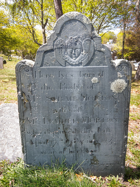 Here lyes buried | the Body of | Mrs. Sarah Morton | wife of | Mr. Lemuel Morton, | who departed this Life | April 17th 1785 in the 23d | year of her Age.