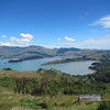 View from the top of the Port Hills looking out at Governors Bay.