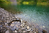 A rock pond emulating the nature in art style of Andy Goldsworthy along the edge of Hoh Lake.