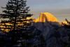 Half Dome half aglow with the sunset alpenglow.