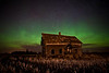 Abandoned farm and Aurora Borealis