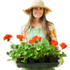 Woman with Flowers Gardening