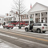 Bedford Village During Snowstorm, library, firehouse and Horse Connection