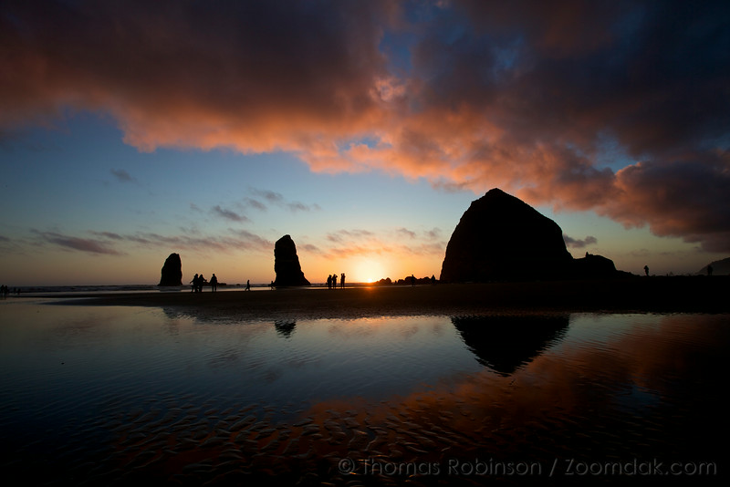Epic Red Sunset, Cannon Beach, Oregon