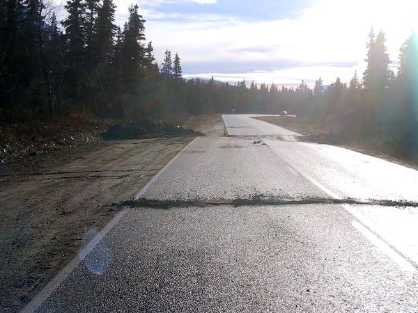 Lateral displacement of the Richardson Hwy is very evident in this photo.