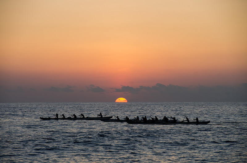 Punahou School Rowing Team at Sunset