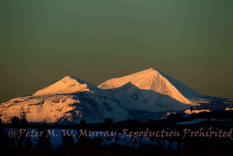 Morning light on the Mts to the West.