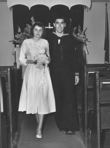 After receiving his marriage proposal via telegram, Alice joined John in Honolulu. They were married on the base at Makalapa Chapel in 1952.  Picked up from http://www.johnlake.com/