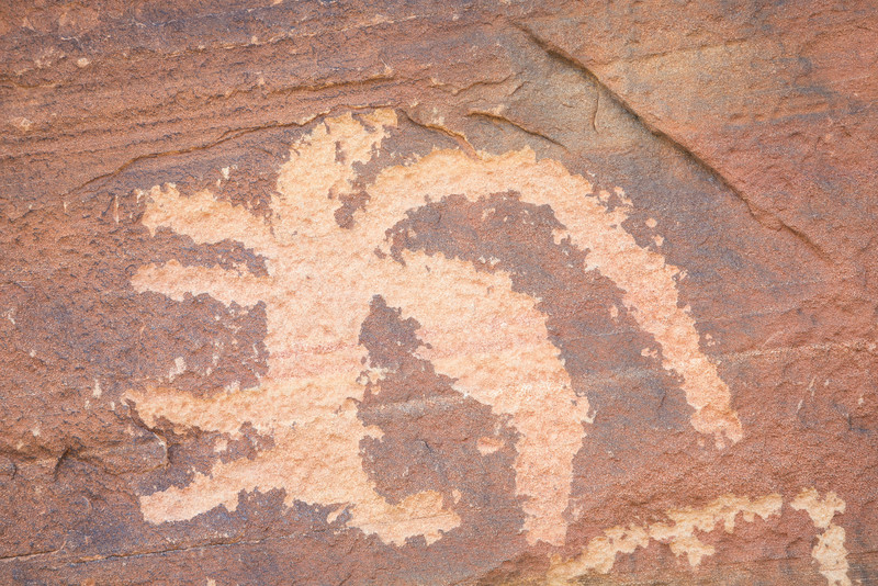 Petroglyphs on a panel sometimes called Newspaper Rock or Picture Rock. Taken in the Gold Butte area of Nevada, USA.