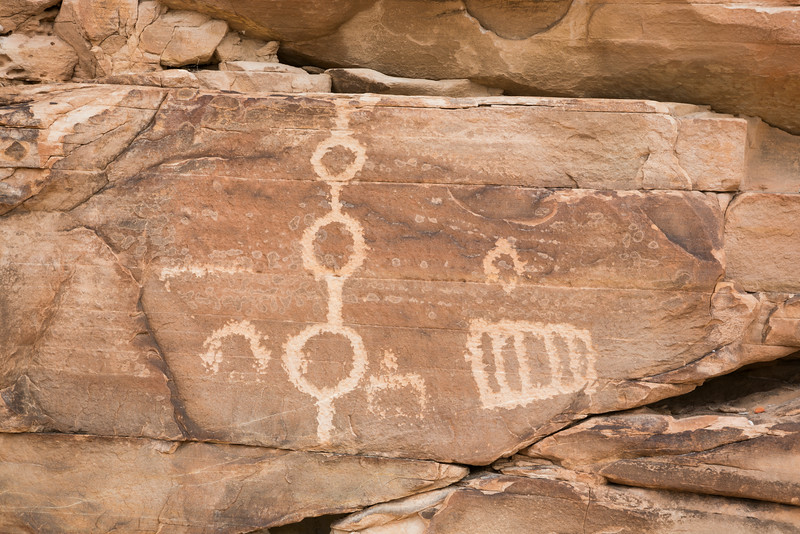 Petroglyphs, engravings on rock. Taken in the Gold Butte area of Nevada, USA.