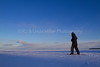 Snowshoer on Frozen Lake Superior, Madeline Island, Bayfield County, Wisconsin,