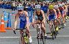 Woman triathlon athletes competing in the cycling stage<br /> Auckland
