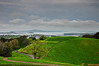 Rangitoto as seen from the top of Mt Eden, on an overcast spring afternoon in Auckland