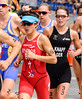 Women athletes competing in the triathlon run<br /> Auckland