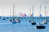 Sailing boats on the Waitamata Habour on a clear July afternoon<br /> Auckland<br /> New Zealand