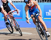 Two tri-ahtletes competing during the cycle stage<br /> Auckland