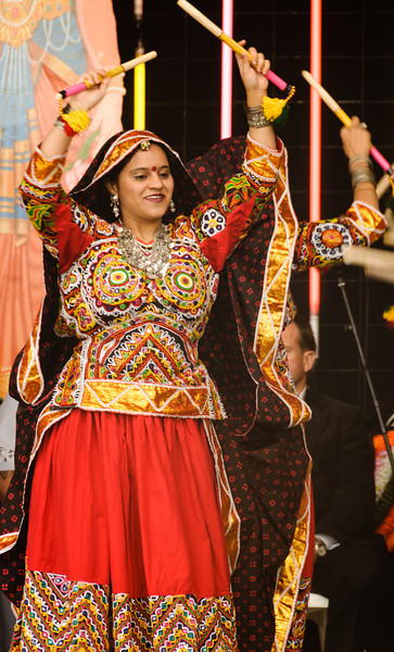 Indian woman dancer in intricate colourful costume<br /> Diwali celebration<br /> Aotea Square<br /> Auckland