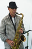 A saxophonist giving a recital of jazz music<br /> Parnell Rose Gardens<br /> Auckland