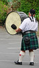 Scottish bagpipe band drummer<br /> Santa Parade<br /> Auckland