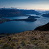 Overlooking Glendhu bay for the sunrise.  It's a long way up here