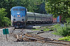 "Amtrak's ""Vermonter"" comes south off the NECR into the CSX yard in Palmer, MA. Some funky looking track going on at this end of the MCER yard... 7/3/2013 - 598C1220dK"