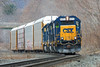 CSX train B740, the Springfield Local, makes a rather unusual move past MP75 in West Warren, MA with 3 units and 4 auto racks for East Brookfield. 4/14/2015 - 598C5353dK