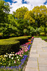 Spring flower beds in Central Park in New York city, New York, USA.