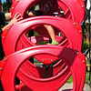 BRYAN EATON/Staff Photo. Liam Barry, 5, of Newburyport climbs up hanging hoops at Amesbury Town Park on Wednesday. He was there with his father, Jeff, who visited for the first time and was impressed with the new playground equipment.