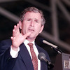 Texas Governor George W. Bush speaks with republicans at Gregg County airport 8-21.