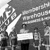 Sam's Club donates $737.50 to Grace Christian School cheerleading squad. (l-r) sarah Pohovsly, Katy Newton, Eva Wisdom w/Sam's, Shelley Williams and Amanda Hogan. Chris Matula photo.
