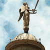 The statue at the top of the Harrison County courthouse is in pretty good shape, bu the other statuary on the building is in desparate need of repair. One of the eagles adorning the east facade will be removed this week for refurbishing. Chris Matula photo.
